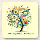 A God-Shaped Life is A Flourishing Tree Drink Coaster