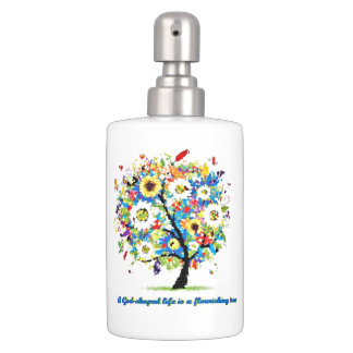 A God-Shaped Life is A Flourishing Tree Soap Dispenser And Toothbrush Holder