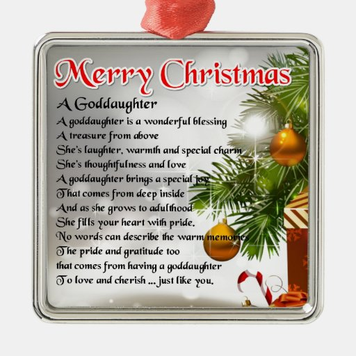 A goddaughter poem - Christmas design Silver-colored Square Decoration