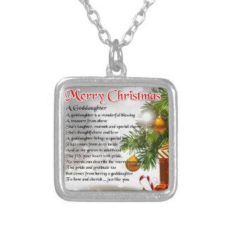A goddaughter poem - Christmas design Square Pendant Necklace