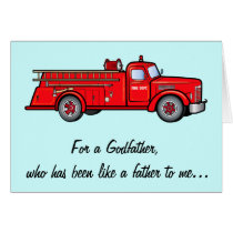A Godfather like a Dad with Classic Fire Engine Card