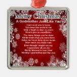 A godmother poem - christmas design metal ornament