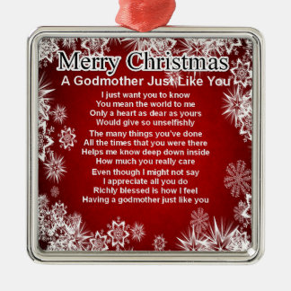 A godmother poem - christmas design metal ornament