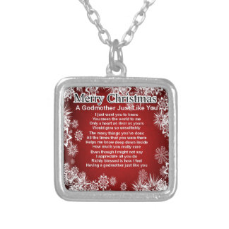 A godmother poem - christmas design silver plated necklace