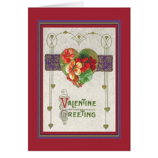 a gold heart, narcissus, deco Valentine Greeting Card