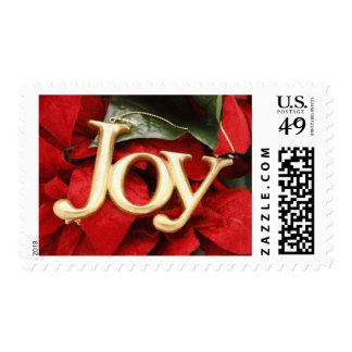 A gold JOY hanging Christmas ornament Postage Stamp