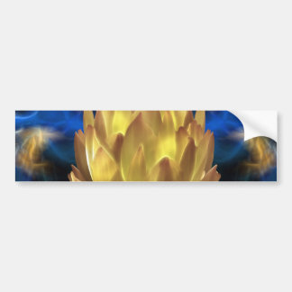 A gold lotus flower and reflections bumper sticker
