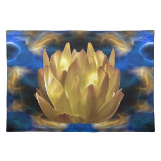 A gold lotus flower and reflections cloth place mat