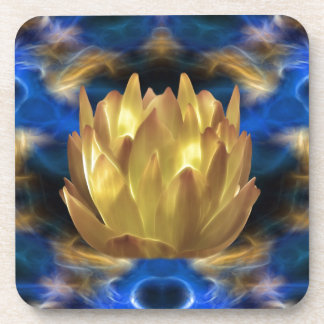 A gold lotus flower and reflections coaster