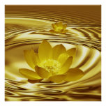 A gold lotus flower and reflections posters