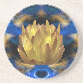 A gold lotus flower and reflections sandstone coaster