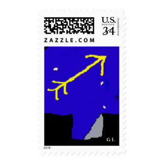 A Golden arrow into azure blue skies Postage Stamp
