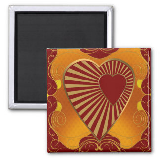 A Golden Heart 2 Inch Square Magnet
