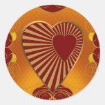 A Golden Heart Round Sticker