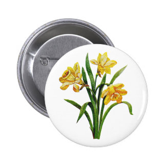 A Golden Host of Embroidered Daffodils Pinback Button
