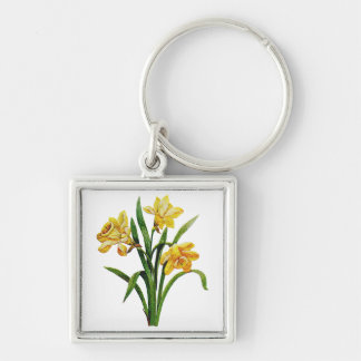A Golden Host of Embroidered Daffodils Silver-Colored Square Keychain