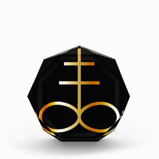 A golden Leviathan Cross or Sulfur symbol Acrylic Award