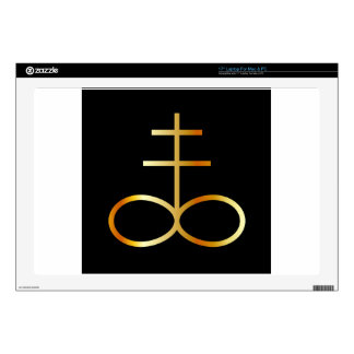 A golden Leviathan Cross or Sulfur symbol Laptop Skins
