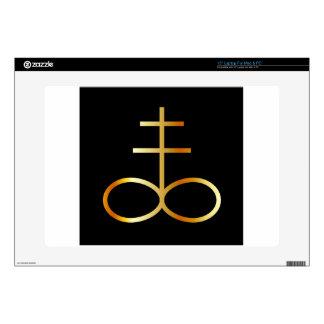 A golden Leviathan Cross or Sulfur symbol Skin For Laptop