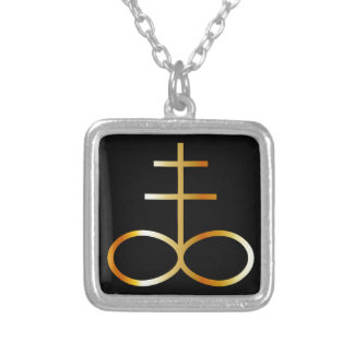 A golden Leviathan Cross or Sulfur symbol Square Pendant Necklace