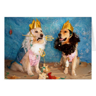 A Golden Poseidon and Triton Birthday Greeting Card