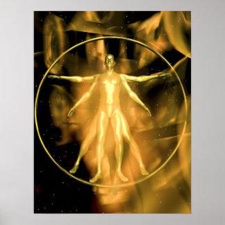 A golden Vetruvian Man Poster