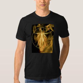 A golden Vetruvian Man T-Shirt