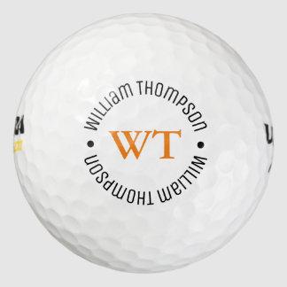 a golf ball with name (circle monogram)