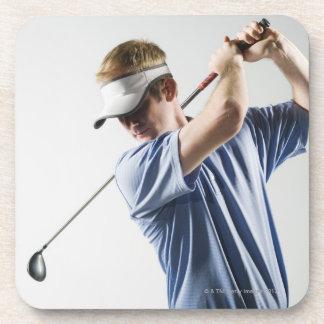 A golfer drink coaster
