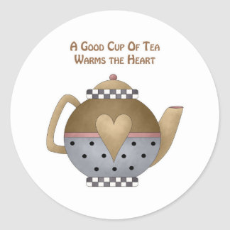 A Good Cup of Tea Warms the Heart Classic Round Sticker