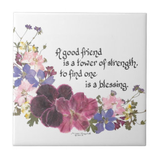 A good friend is a blessing small square tile