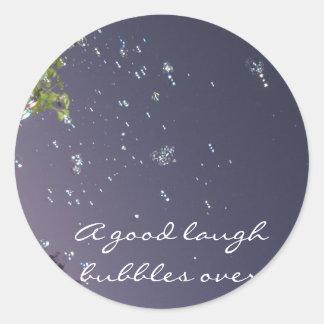 A good laugh bubbles over classic round sticker