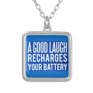 A GOOD LAUGH RECHARGES YOUR BATTERIES HAPPINESS AD NECKLACE