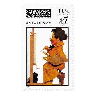 A Good Mixer, Maxfield Parrish Postage Stamp