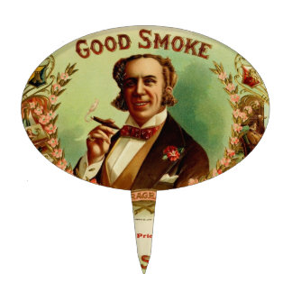 A good Smoke for the sophisticated gentleman Oval Cake Topper