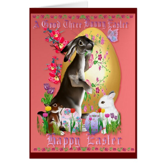 A Good Three Bunny Easter Card