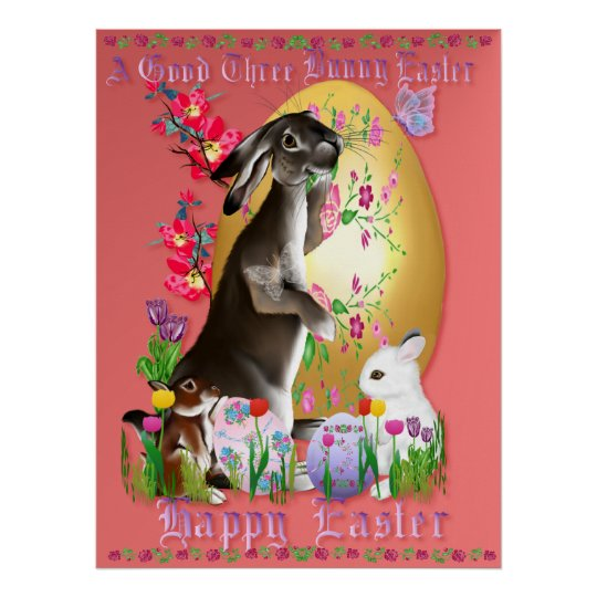 A Good Three Bunny Easter Poster
