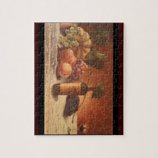 A gorgeous painting of assorted fruits & wine. jigsaw puzzle