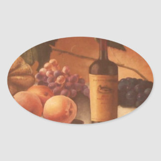 A gorgeous painting of assorted fruits & wine. oval sticker