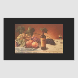 A gorgeous painting of assorted fruits & wine. rectangular sticker