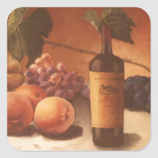 A gorgeous painting of assorted fruits & wine. square sticker