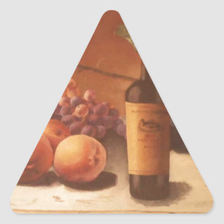 A gorgeous painting of assorted fruits & wine. triangle sticker