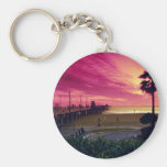 A gorgeous sunset at the pier, Huntington Beach, C Basic Round Button Keychain