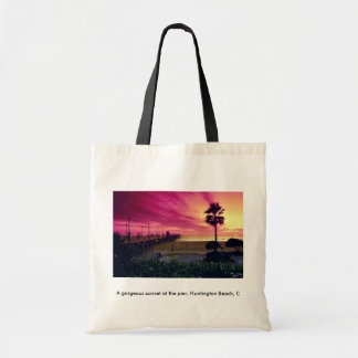 A gorgeous sunset at the pier, Huntington Beach, C Tote Bag