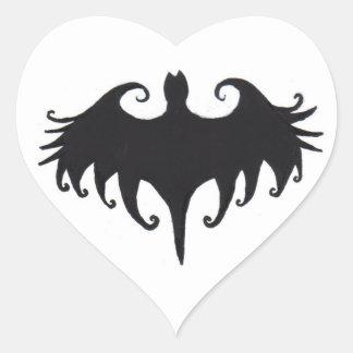 a gothic bat heart sticker