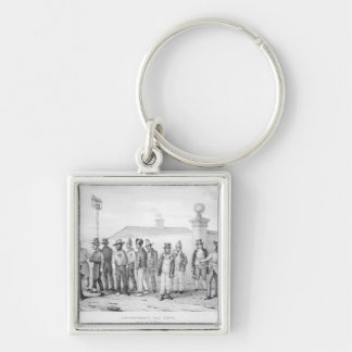 A Government Jail Gang Silver-Colored Square Keychain