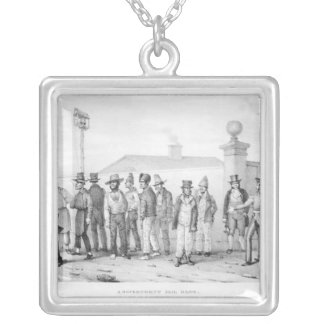 A Government Jail Gang Square Pendant Necklace