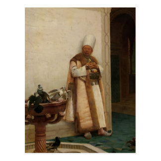 A Grand White Enuch Watching Doves by Jean Vibert Postcard