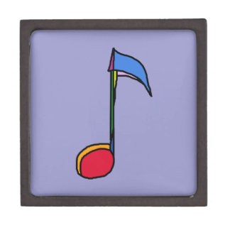 a graphic colorful music note gift box