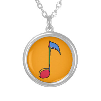 a graphic colorful music note silver plated necklace